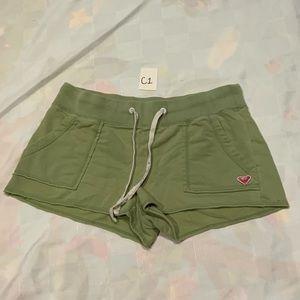 Previously loved Roxy green drawstring shorts